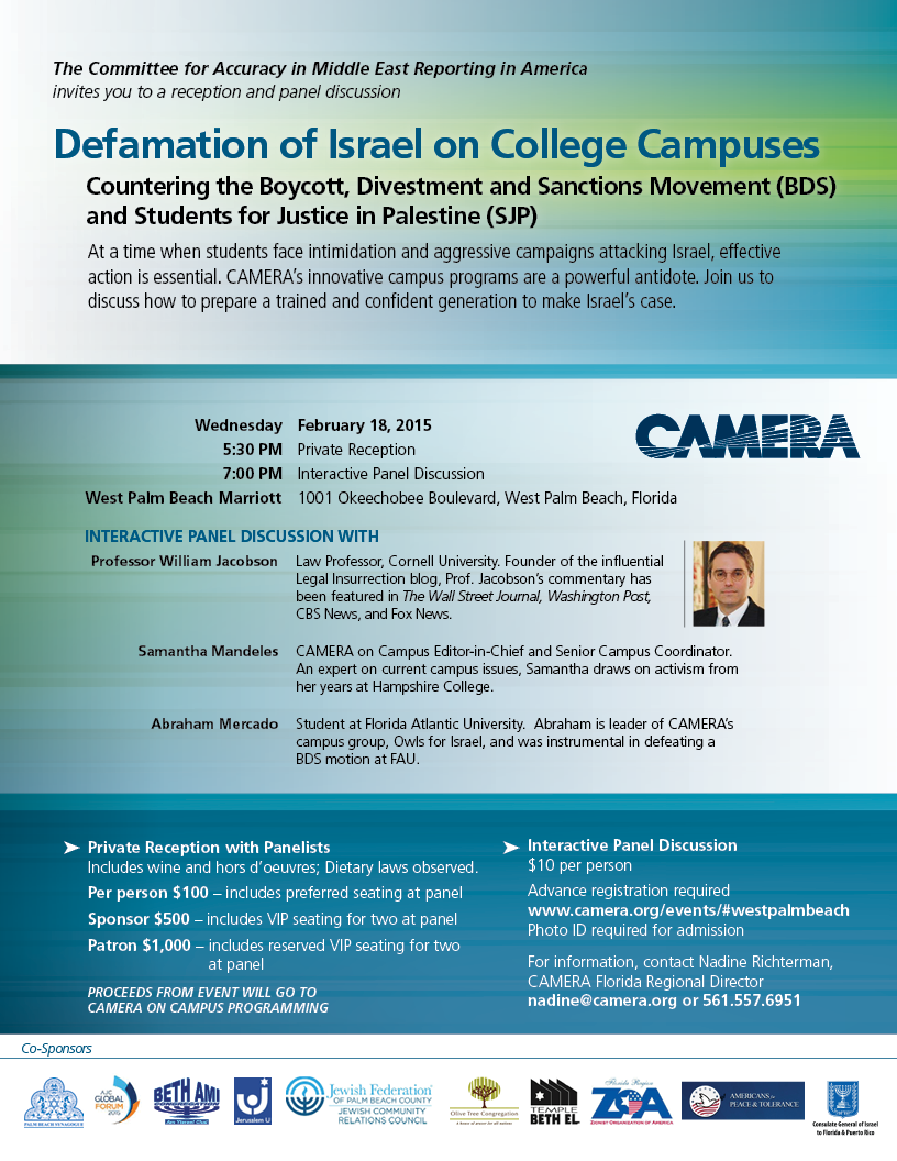 Defamation of Israel on College Campuses, West Palm Beach