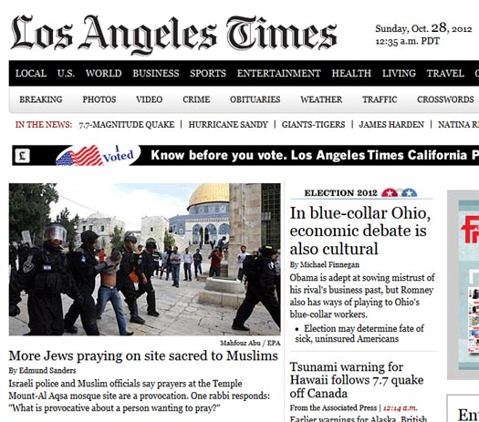Los Angeles Times: CAMERA: The Los Angeles Times And Temple Mount Provocations