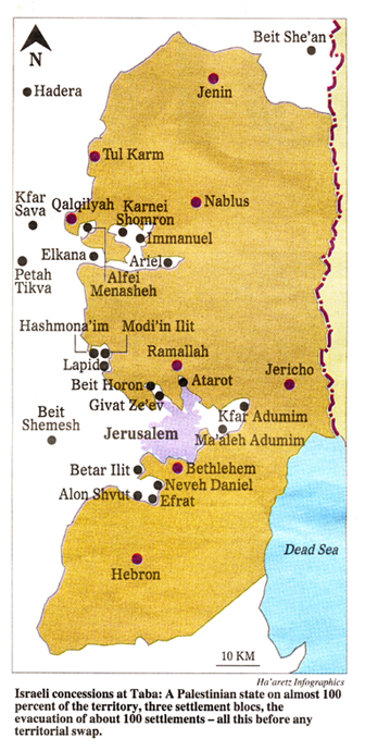 Taba Map (Ha'aretz)
