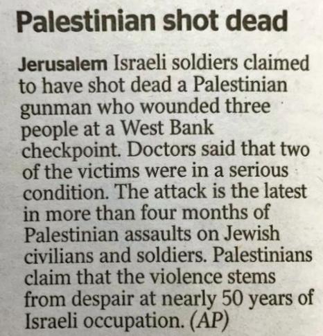 "Headline: ""Palestinians shot dead"""