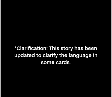 Clarification: This story has been updated to clarify the language in some cards