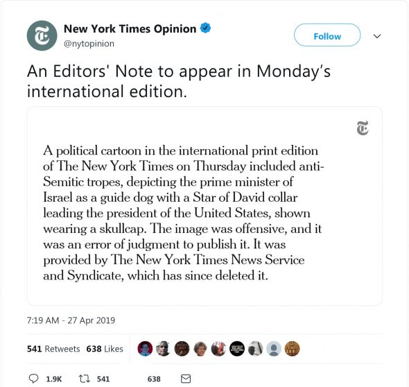 Updated Again New York Times Apes Der Sturmer With Anti Semitic