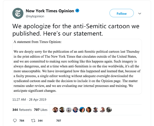 ff4de0eed52 We are deeply sorry for the publication of a political cartoon last  Thursday that ran in the print edition of the New York Times that  circulates outside of ...