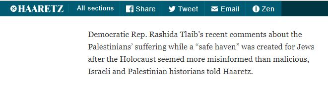 CAMERA Prompts Haaretz Correction: Rashida Tlaib Not First