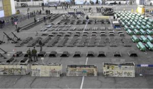 Weapons on the deck of a captured ship,