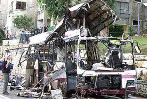 The wrecked hull of Haifa bus 16.