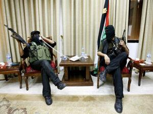 Hamas gunmen in Palestinian president's office.